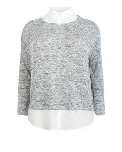 Plus Size Grey 2 in 1 Shirt Jumper  | New Look