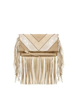 Stone Chevron Fringe Hem Fold Over Clutch  | New Look