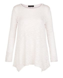 Stone Fine Knit Hanky Hem Long Sleeve Top | New Look