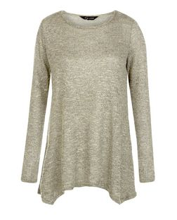 Khaki Fine Knit Hanky Hem Long Sleeve Top  | New Look
