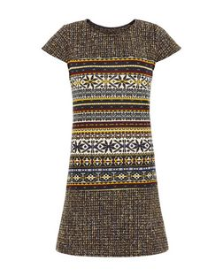 Pussycat Brown Abstract Print Tweed Tunic | New Look