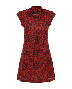 Pussycat Red Floral Print Cowl Neck Tunic | New Look