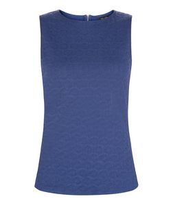 Navy Daisy Jacquard Sleeveless Top  | New Look