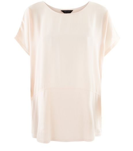 Shell Pink Fine Knit Contrast Longline T-Shirt  | New Look