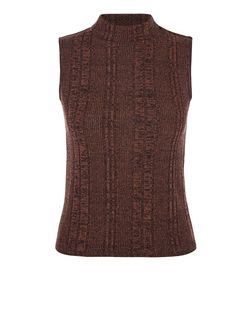 Dark Brown Fine Knit Ribbed Funnel Neck Sleeveless Top  | New Look