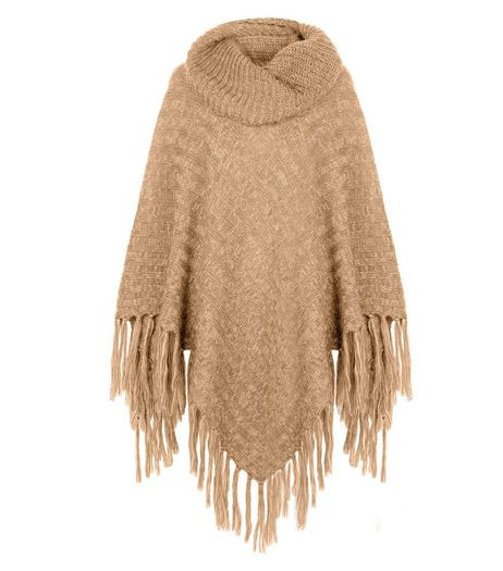 Stone Fringed Roll Neck Poncho  | New Look