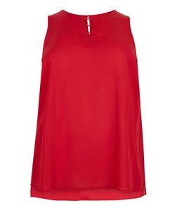 Curves Red Cut Out Front Shell Top | New Look