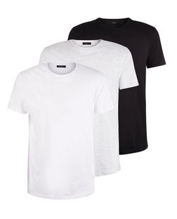 3 Pack White Light Grey and Black T-Shirts  | New Look