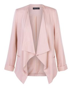Shell Pink Waterfall Blazer  | New Look