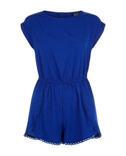 Teens Blue Crochet Trim Playsuit | New Look