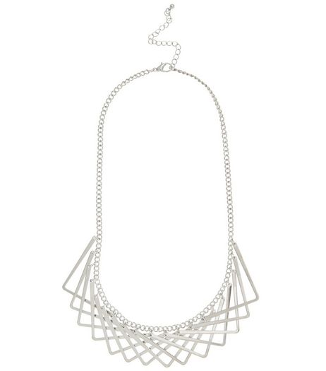 Silver Layered V Necklace | New Look