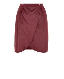 Cutie Red Faux Suede Wrap Skirt | New Look