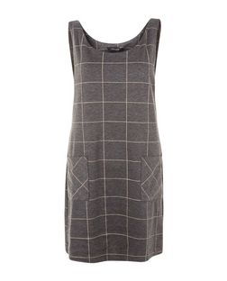 Grey Grid Check Pinafore Dress  | New Look