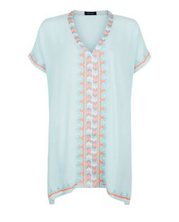 Blue Embroidered Trim Kaftan  | New Look