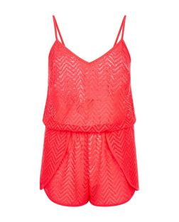 Bright Pink Zig Zag Crochet Playsuit  | New Look
