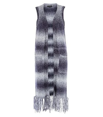 Blue Gradient Stripe Tassel Hem Waistcoat