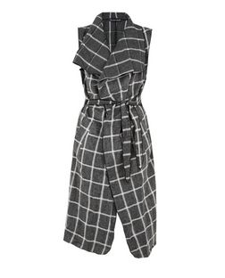 Mela Grey Check Sleeveless Jacket | New Look