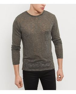 Khaki Single Pocket Long Sleeve Top | New Look
