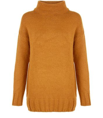 Tan Funnel Neck Longline Jumper