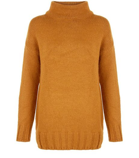 Tan Funnel Neck Longline Jumper  | New Look