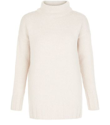 Shell Pink Funnel Neck Longline Jumper