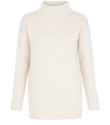 Shell Pink Funnel Neck Longline Jumper  | New Look