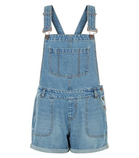 Teens Blue Short Dungarees | New Look