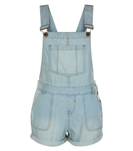 Teens Pale Blue Short Dungarees | New Look
