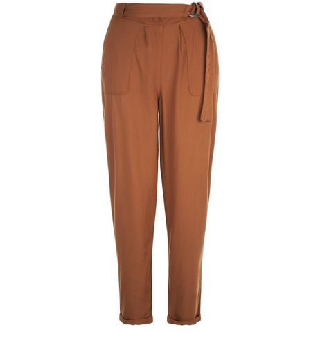 Tan D-Ring Belt Twill Trousers  | New Look
