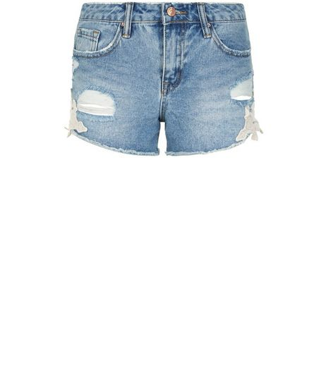 Blue Crochet Hem Ripped Denim Shorts  | New Look