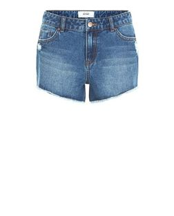 Blue Frayed Hem Denim Shorts | New Look