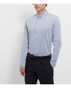 Blue Textured Long Sleeve Shirt  | New Look