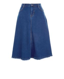 Blue Denim Fray Hem Midi Skirt  | New Look
