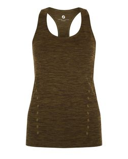 Khaki Space Dye Sports Vest  | New Look