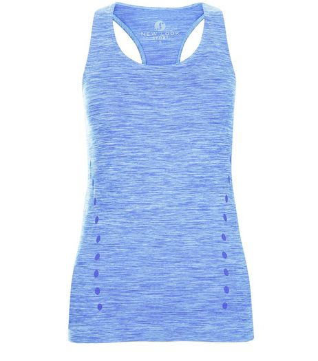 Blue Space Dye Sports Vest  | New Look