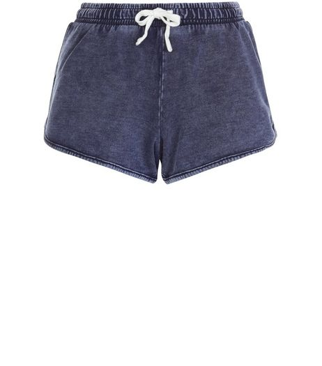 Blue Acid Wash Runner Shorts  | New Look