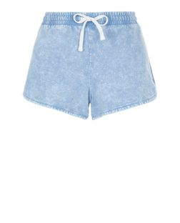 Light Blue Acid Wash Runner Shorts  | New Look