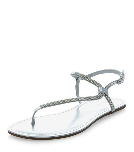 Silver Embellished Asymmetric Sandals  | New Look