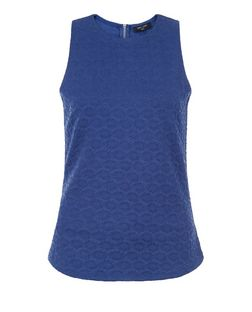 Tall Blue Daisy Print Jacquard Shell Top | New Look