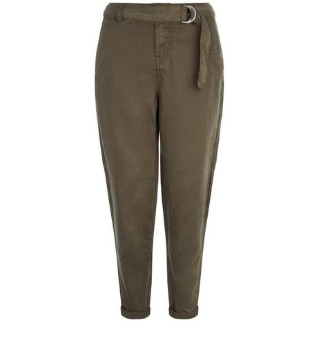 Petite Khaki D-Ring Belted Trousers | New Look