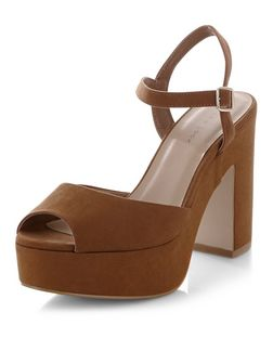 Tan Ankle Strap Platform Block Heels | New Look