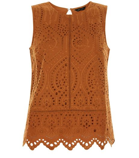 Rust Crochet Scallop Hem Sleeveless Top | New Look