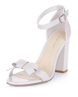 Grey Leather-Look Bow Block Heels  | New Look