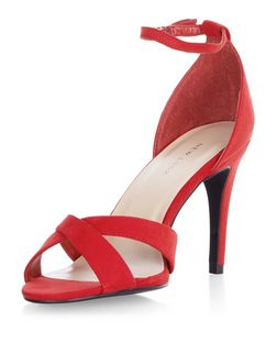 Red Suedette Cross Strap Heels  | New Look