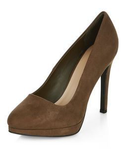 Khaki Suedette Pointed Court Shoes  | New Look