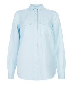 Blue Linen Double Pocket Long Sleeve Shirt  | New Look