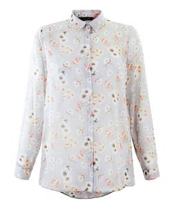 Grey Chiffon Floral Print Long Sleeve Shirt | New Look