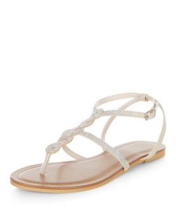Stone Suedette Twist T-Bar Sandals  | New Look