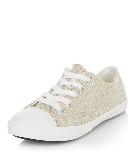 Wide Fit Cream Canvas Lace Up Plimsolls  | New Look