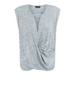 Silver Foil Wrap Front Top  | New Look